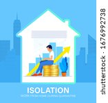 self isolation concept. young... | Shutterstock .eps vector #1676992738