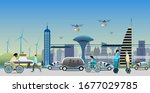 renewable electrified city... | Shutterstock .eps vector #1677029785