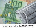 Face Mask On Euro Banknotes...