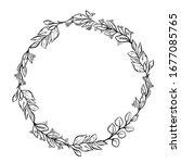 vector outline floral wreath.... | Shutterstock .eps vector #1677085765