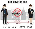 social distancing. businessman... | Shutterstock .eps vector #1677111982