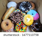 Colorful Donuts In The Box