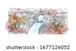 building view with landmark of... | Shutterstock .eps vector #1677126052