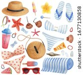 beach set drawn by watercolor.... | Shutterstock . vector #1677130858