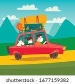 masked tourist family going... | Shutterstock .eps vector #1677159382
