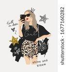 typography slogan with girl in... | Shutterstock .eps vector #1677160282