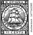 British Guiana Stamp (6 cents) from 1863. British Guiana (Guyana) was the name of the British colony on the northern coast of South America, vintage line drawing or engraving illustration.