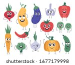vegetable mascots. happy carrot ...   Shutterstock .eps vector #1677179998