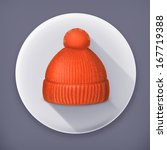 knitted red cap  long shadow...   Shutterstock .eps vector #167719388