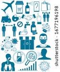 coronavirus bacteria icons ... | Shutterstock .eps vector #1677196198