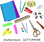 set of colorful stationery for... | Shutterstock .eps vector #1677199498