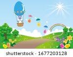 spring landscape with easter... | Shutterstock . vector #1677203128