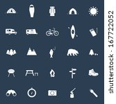 Set of camping icons. Outdoor activity symbols drawn in vector. Tent, trailer, camper, sleeping bag, fire, grill, mountain, forest, bear, fish - all you need to illustrate outdoor activity.