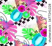 seamless pattern zine design.... | Shutterstock . vector #1677241228