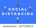 social distancing concept for... | Shutterstock .eps vector #1677258115