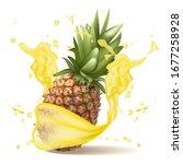Ripe Pineapple Drop On Juice...