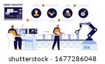 workers  robot arms and... | Shutterstock .eps vector #1677286048