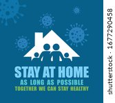 a vector sign for stay at home... | Shutterstock .eps vector #1677290458
