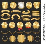 collection of golden badges... | Shutterstock . vector #1677296662
