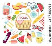 vector elements. picnic basket. ... | Shutterstock .eps vector #1677300058