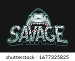 colorful angry shark holding... | Shutterstock .eps vector #1677325825