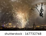 Holiday fireworks and clock...
