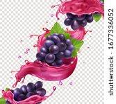 red wine or juice splash and... | Shutterstock .eps vector #1677336052