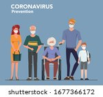 family people wearing face mask.... | Shutterstock .eps vector #1677366172