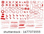 doodle check mark and underline.... | Shutterstock .eps vector #1677373555