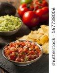 homemade pico de gallo salsa... | Shutterstock . vector #167738006