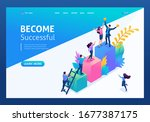 isometric concept young... | Shutterstock .eps vector #1677387175