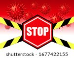 flying virus particles and stop ... | Shutterstock .eps vector #1677422155