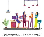 girl office work discussion... | Shutterstock .eps vector #1677447982