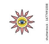 sun with eye popular amulet...   Shutterstock .eps vector #1677491008