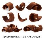 chocolate shavings 3d realistic ... | Shutterstock .eps vector #1677509425