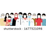 people and doctors wearing face ... | Shutterstock .eps vector #1677521098