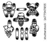 set of skull with skateboard ... | Shutterstock .eps vector #1677547855