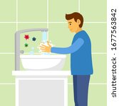 a man washing his hands in the... | Shutterstock .eps vector #1677563842