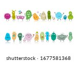funny and scary bacteria... | Shutterstock .eps vector #1677581368