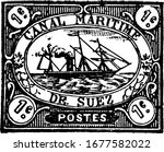 Suez Canal Company Stamp (1 cent) from 1868, a small adhesive piece of paper stuck to something to show an amount of money paid, mainly a postage stamp, vintage line drawing or engraving illustration.
