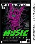 zombie hand poster vector... | Shutterstock .eps vector #1677590878