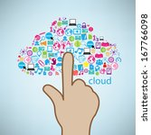 hand clicking cloud icon.... | Shutterstock .eps vector #167766098