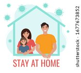 stay home during the... | Shutterstock .eps vector #1677673852