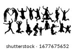 happy jumping silhouettes  art... | Shutterstock .eps vector #1677675652