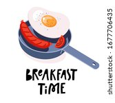 fried egg and sausage on pan....   Shutterstock .eps vector #1677706435
