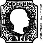 Portugal Stamp (5 reis) from 1855, a small adhesive piece of paper was stuck to something to show an amount of money paid, mainly a postage stamp, vintage line drawing or engraving illustration.