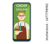 order online concept  young man ... | Shutterstock .eps vector #1677798982