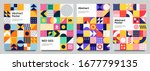 colorful neo geometric poster.... | Shutterstock .eps vector #1677799135
