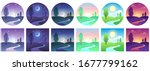 landscape time icons. sky and... | Shutterstock .eps vector #1677799162