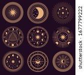 mystic circle symbols. vector...   Shutterstock .eps vector #1677799222
